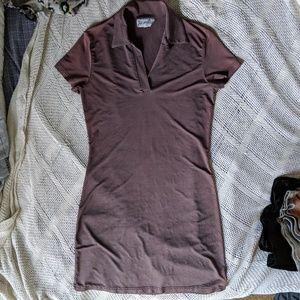 Burgundy bodycon collared dress